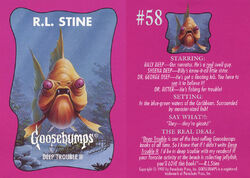 Goosebumps 58 Deep Trouble II trading card front and back