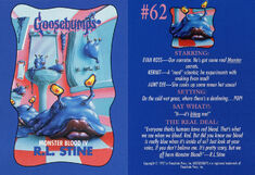 Goosebumps 62 Monster Blood IV trading card front and back