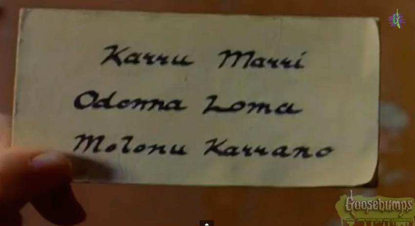 Karru Marri Odonna Loma Molonu Karrano | Goosebumps Wiki | FANDOM
