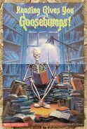 Reading Gives You Goosebumps Curly bookpile poster blnkbk