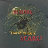 Beware in for a Scare Spider full moon 90s green T-shirt back detail