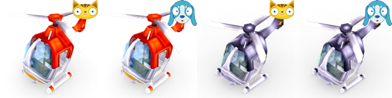 Red and Purple Helicopters