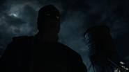 Close up of Bruce Wayne in his vigilante uniform
