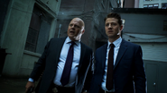 Jim Gordon and Nathaniel Barnes watch in shock after Evan Pike explodes