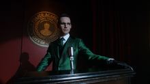 Edward Nygma gives a speech as The Riddler