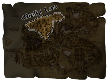 "Wielki las zaznaczony na <a href=""/pl/wiki/Mapa_teren%C3%B3w_Khorinis"" title=""Mapa terenów Khorinis"">mapie</a>"