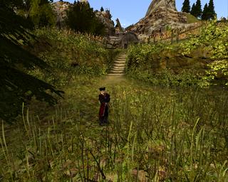 Pirat stojący w gęstwinie za która znajdują się kamienne schody i uprawa zboża