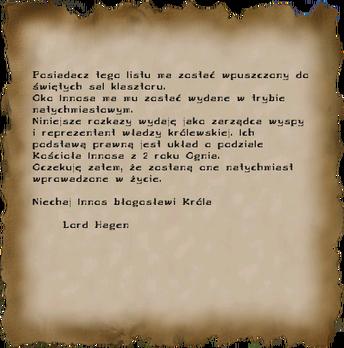 List polecający dla Pyrokara (Gothic II) (by ProOski)