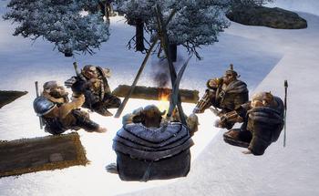 Orkowie z Nordmaru przy ognisku