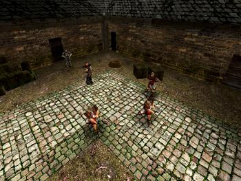 Strażnicy miejscy w koszarach, trenujący walkę