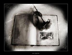 Gothic book and rose