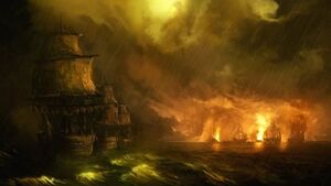 R169 457x257 2644 Naval battle 2d fantasy ships shipwreck battle picture image digital art