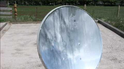 "Converted Satellite dish to a ""Parabolic Mirror"" Solar cooking Green Solutions N.I."
