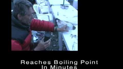 Allart Ligtenberg at the Everest Base Camp demonstrating light-weight solar cookers