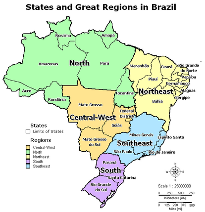 States and Great Regions in Brazil