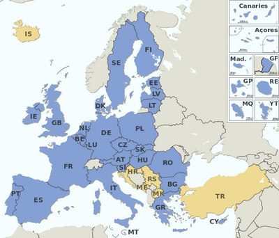 EU Member states and Candidate countries map