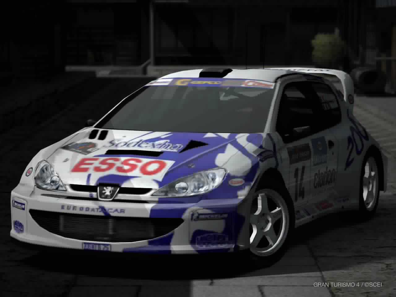 The Peugeot 206 rally car with Esso branding in the NTSC-J, PAL and NTSC-K  (Korean) versions of Gran Turismo 4