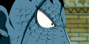 Gajeel's face cracks