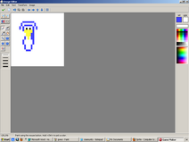 An unfinished sprite of a penguin