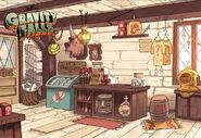 Postcard creator gift shop counter