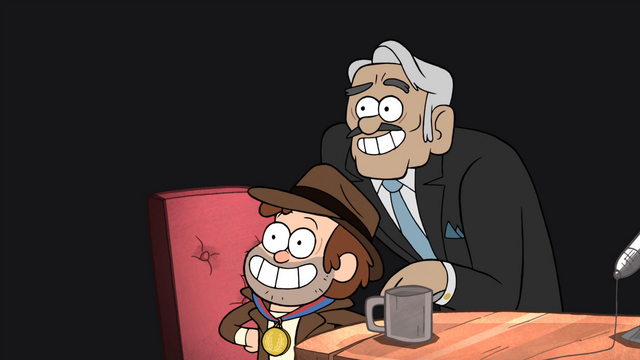 File:S1e2 dipper posing with interviewer.png