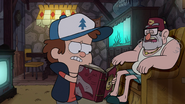S1e19 Dipper reading about Bill