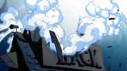 La Cabaña del MIsterio siendo destruida S1E20