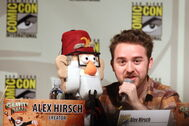 Alex Hirsch with Grunkle Stan Puppet