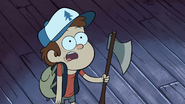 S1e3 dipper holding the ax