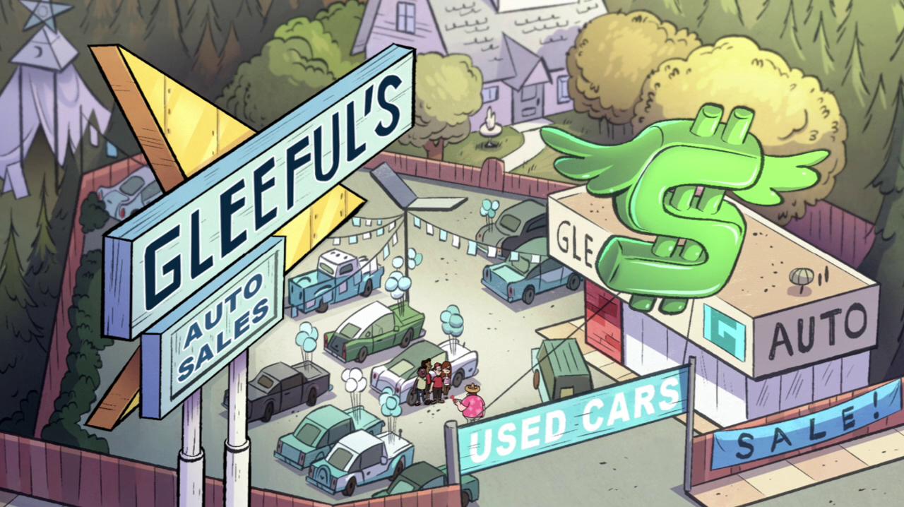 Gravity Auto Sales >> Gleeful S Auto Sale Gravity Falls Wiki Fandom Powered By Wikia