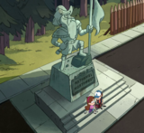 S1e8 Nathaniel Northwest statue with Dipper and Mabel