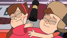 Dipper y Mabel abrazan a Stan.