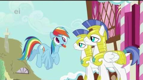 Rainbow Dash tries making the guards laugh!