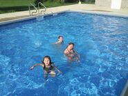 Three Girls Still in the Pool