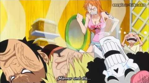 One Piece - Taking Bath with naked Robin & Hug Nami's Breasts (Funny Scene HD)