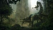 Trees cityscapes robots cyborgs weapons apocalypse colossus science fiction scorpions wasteland 2 www.wallpaperhi.com 1