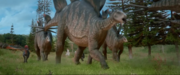 Stegosaurus and pachy running
