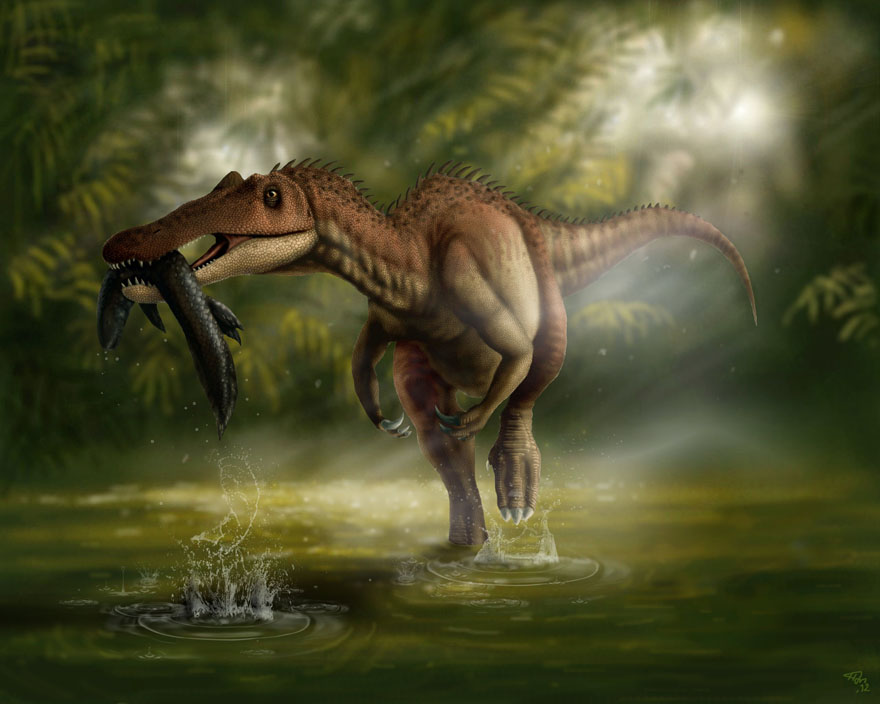 Clipart Prehistoric Suchomimus Dinosaur Eating A Fish 5 Royalty Cgi Ilration By Ralf61