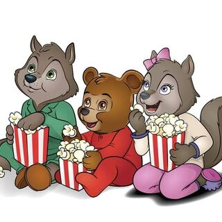 Wiley, Brinley, and Violet eating popcorn.
