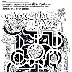 A water slide Maze activity dated 2001 featuring Wiley