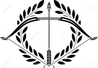 Image 23022062 Bow And Laurel Wreath Stencil Illustration Stock