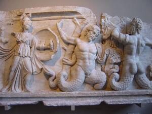 DSC04529a Istanbul - Museo archeol. - Gigantomachia - sec. II d.C. - da Afrodisia - Foto G. Dall'Orto 28-5-2006