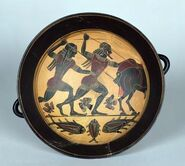G interior of a cup depicting the hunt