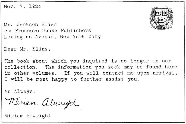 Typewritten letter from miriam atwright