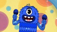 Happy Bobby Blue is singing and playing with his maracas