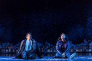 Andy Karl and Carlyss Peer as Phil Connors and Rita Hanson in the snow