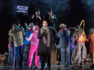 Andy Karl as Phil Connors reporting in front of the Groundhog Day ceremony 1