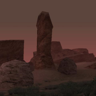 The Cock Rock at night.