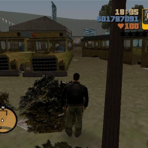 The crushed buses on the backyard of 8 Ball's compound in GTA III.