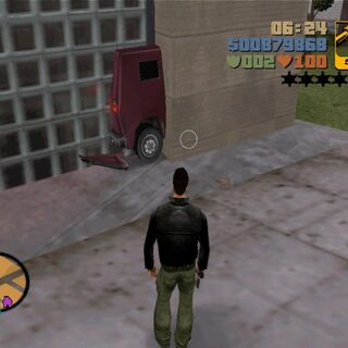 Cars half inside walls glitch in GTA III.